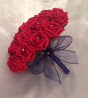 ARTIFICIAL FLOWERS RED / NAVY BLUE FOAM ROSE BRIDE DIAMANTE WEDDING BOUQUET